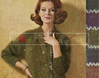 "Lady's Jacket Mohair 34-40"" Sirdar 2072 Vintage Knitting Pattern PDF instant download"