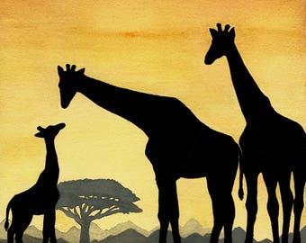 Giraffe Family - African Sunset Silhouette