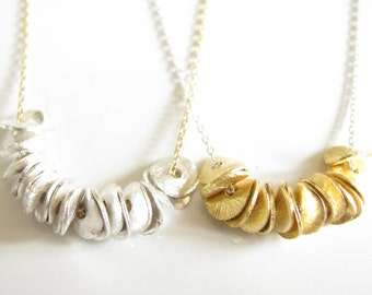 Brushed Gold Necklace Brushed Silver Necklace Brushed Mixed Metal Necklace