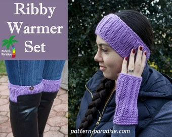 Crochet Pattern for Boot Cuffs, Gloves, Headband, PDF 15-162 INSTANT DOWNLOAD