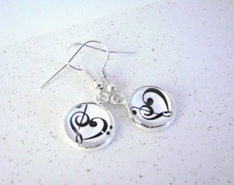 MUSICAL HARMONY -- Music Heart Petite Silver Dangle Earrings,  Treble and Bass clefs join to make a Musical Heart