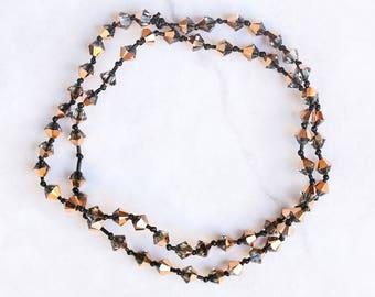 Rose Gold Capella Swarovski Crystal Multiway Bracelet. Rose gold headband, bracelet, necklace, anklet. Rose gold and black stretchy bracelet