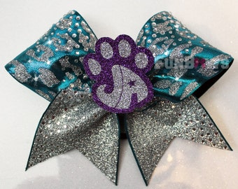 Custom Logo Cheetah Glitter Rhinestone  Cheer Bow  by FunBows !