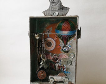 Jules Verne Steampunk Art Shrine Mixed Media Assemblage Travel Theme