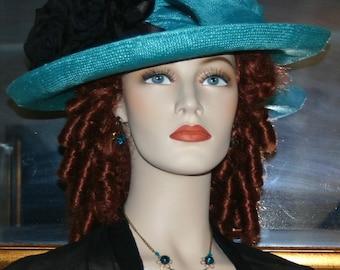 Edwardian Hat Church Hat Easter Hat Downton Abbey Hat Women's Aqua Gatsby Hat Downton Abbey Hat - Lady Charmaine