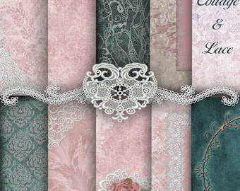 Pink and Teal: Green Teal Digital Paper, Teal Green, Pink Paper, Pink and White Lace, Instant Download, Commercial use  No 1192
