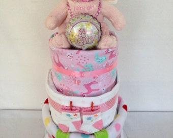 Three tier baby girl nappy cake