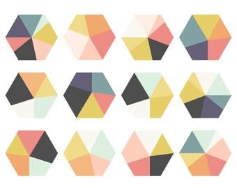 Geometric Clip Art // Grey, Pink, Mustard, Purple // Hexagon Digital ClipArt // Instant Download // Hexagon Clipart