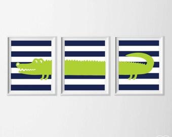 Nursery Alligator Art, Safari Alligator Nursery Wall Art,  Lime Green Navy Alligator Set of 3, Safari Kids Decor Alligator, Zoo Nursery Art