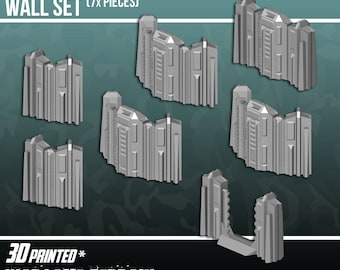 Tall Connecting Barricade Wall Set, Terrain Scenery for Tabletop 28mm Miniatures Wargame, 3D Printed and Paintable, EnderToys