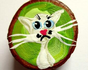 Magnet Hand-painted Art Cat Clarissa