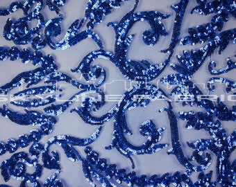 Royal Blue Stretch Sequin Lace Fabric By The Yard