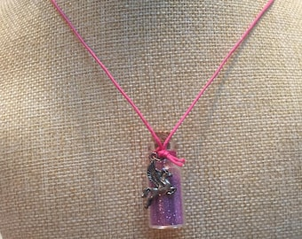Pink Pegasus glitter glass vial necklace jewelry