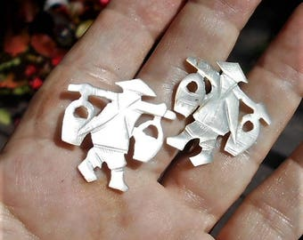 """MOP Chinese Men Screw Back Earrings,  Mother of Pearl Hand Carved Chinamen Carrying Baskets.  1 1/8"""""""