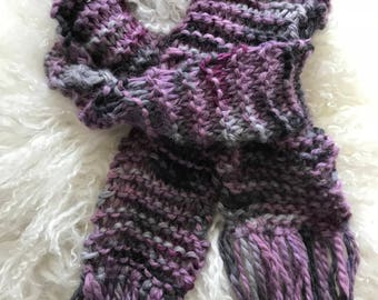 Purple Hand-Knitted Scarf