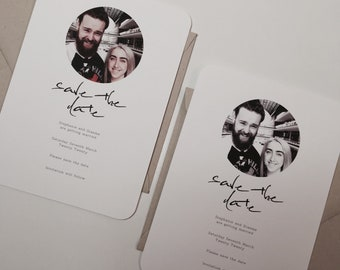 Wedding Save The Date Photograph Photo Personalised Minimal 20 30