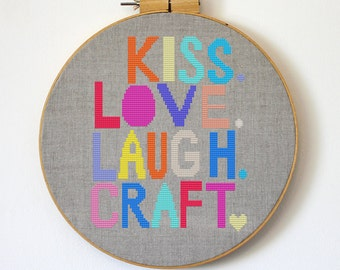 Kiss Love Laugh Craft - Satsuma Street Modern cross stitch pattern PDF - Instant download