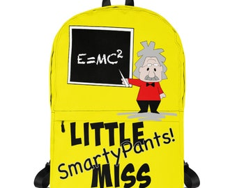 Kids School Backpack, Einstein Cartoon, Science Gift Ideas, Little Miss Smarty Pants, Girls Personalizable Backpacks, Albert Einstein Bag