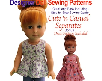 Cute n Casual Doll Sewing Pattern fits Hearts 4 Hearts, and Les Cheries dolls  inc Top, Pants & Dress