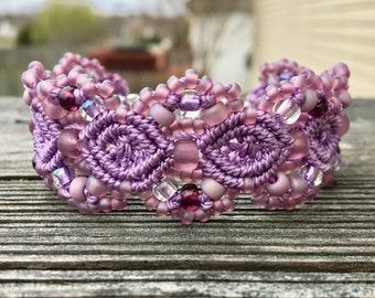 Micro-Macrame Cuff Bracelet. Modern Macrame. Purple Lavender Bracelet. Purple Beaded Cuff. Statement Jewelry. Boutique Fashion Piece.