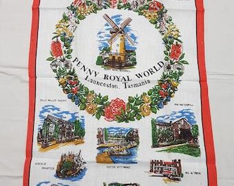 Vintage Tea Towel Penny Royal World Launceston Tasmania Pure Linen