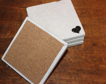 Heart Tumbled Marble Tile Coasters, absorbent, tumbled white tile stone coasters, natural, modern set of 4, 4 x 4 coasters