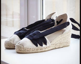 Lace Up Espadrilles Wedges - PAYESAS - Handmade In Spain - www.mumico.es
