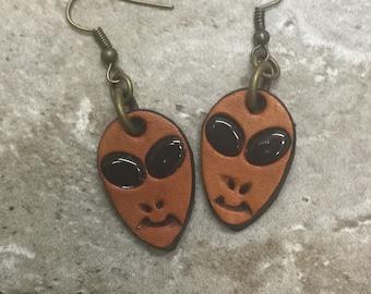 ALIEN Earrings TOOLED LEATHER hand tooled earrings