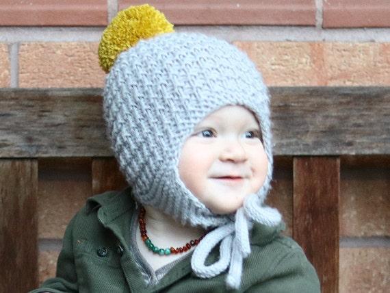Baby Hat Pattern, PDF Knitting Pattern, Pom Pom hat pattern, Earflap ...