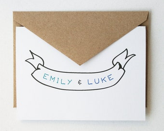 Personalized Stationery -- The Couple's Banner -- Set of cards & envelopes -- CHOOSE YOUR QUANTITY