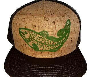 Trout Cork Brown Snapback Mesh Trucker Hat Cap Fishing Fly