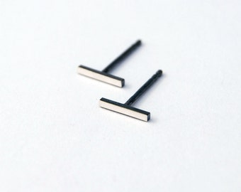 Square bar studs minimalist oxidized polished sterling silver post earrings