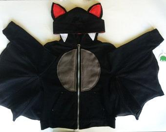 BAT! - Toddler Zipper Long Sleeve Hoodie - Bat - Handcrafted