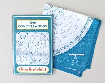 Handkerchief-Constellations-Constellations Handkerchief-Map of the Stars-Gift for Stargazer-Gift for Astronomer-Printed Handkerchief