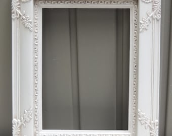 White Picture Frame, 4.75 x 6.5  Ornate White Picture Frame, Frame with Glass and Easel Back, White Wedding Frame, Girls Room Frame