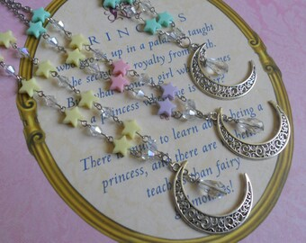 moon and stars necklace fairy kei lolita yellow pink lavender blue mint glass beads