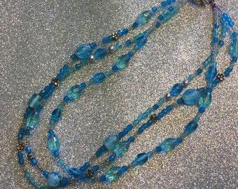 """14 1/2"""" aqua blue 3 strand necklace"""
