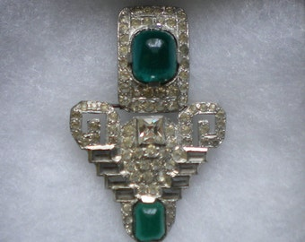 Vintage 40s Art Deco Sash Buckle Art Deco Belt Buckle Rhinestone Buckle Green Cabochons
