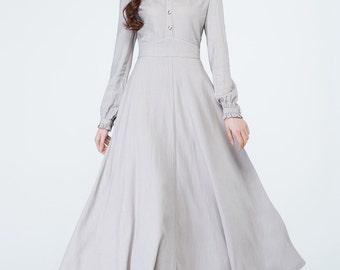light grey dress, linen dress women, party dress, shirt dress, ruffle dress, long sleeves dress, spring dress, fitted dress, maxi dress 1697