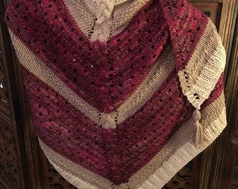 Cranberry and Cream Shawl. Hand knit with silk and wool combination yarn.