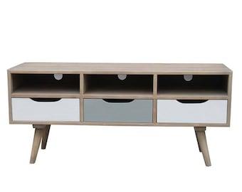 Tv Cabinet Scandi Drawers Toni Nature 120X41X53 cm