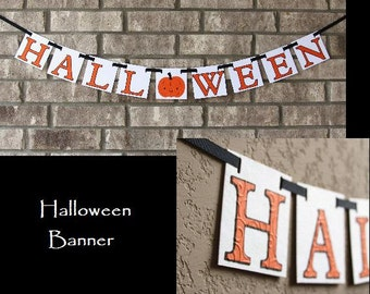 HALLOWEEN Holiday Banner with Beautiful Embossed Lettering