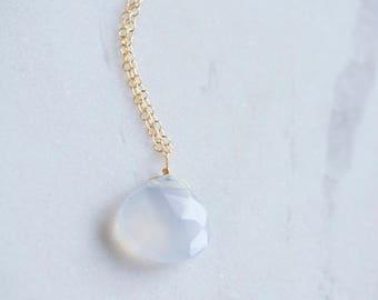 Baby blue Chalcedony Gemstone Necklace
