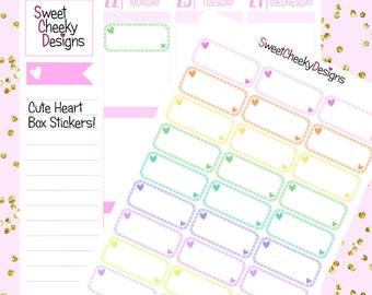 Cute Heart Box Stickers!  Perfect for Erin Condren Life Planner, MAMBI/Happy Planner, Plum Planner, Etc.