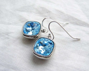 March Birthday ~ Swarovski Aquamarine Earrings ~ Sterling Silver Ear Wire ~ Gift for Her ~ Cushion Cut Stone