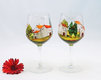 Hand painted wine glasses - Set of 2 - Village Provencal collection