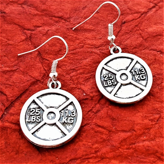 Fitness Earrings, Weight Plate Earrings, Barbell Earrings, Weightlifter Crossfit Jewelry, Barbell Charm, Fitness Jewelry Gifts, Trainer Gift