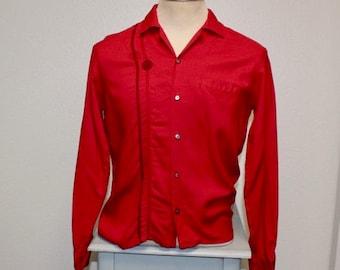 Vintage 1950s red gabardine Davinci California long sleeve shirt medium 380