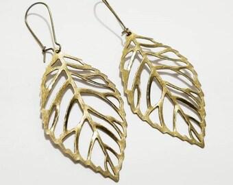 Antique Bronze Leaf Pendant Earrings with Kidney EarWire, Minimal Earrings
