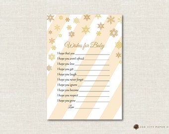 Winter Baby Shower Wishes for Baby - Wishes for Baby Shower Card, Well Wishes for Baby, Gold, Baby Shower Wishes for Baby, Christmas - DIY